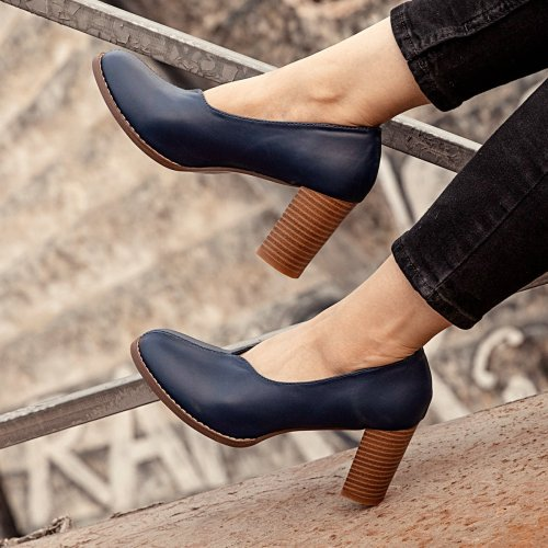 Blue Winter Pu Loafers
