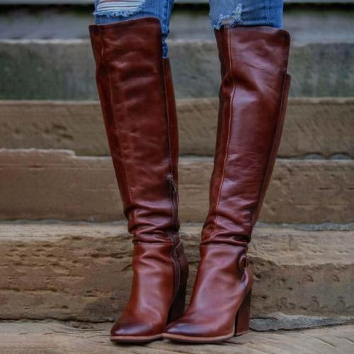 Pu Leather Zipper Chunky Heel Boots Sweet Knee-High Long Boots