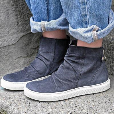 Womens Flat Heel All Season Zipper Faux Suede Boots Casual Shoes