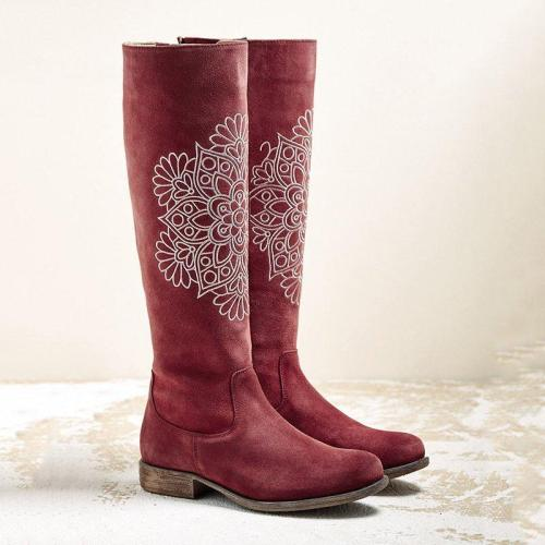 Women Winter Zipper Floral Print Suede Boots