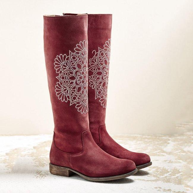 Women Winter Zipper Floral Print Suede Boots