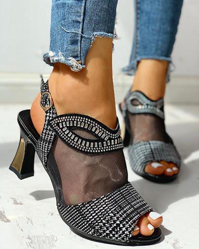 Studded Mesh PU Splicing Peep Toe Chunky Sandals