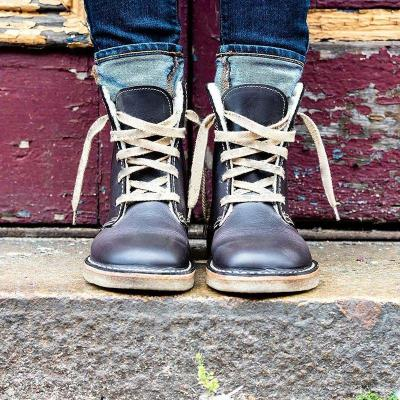Women Round Toe Lace-Up Snow Boots Pu Casual Winter Low Heel Shoes
