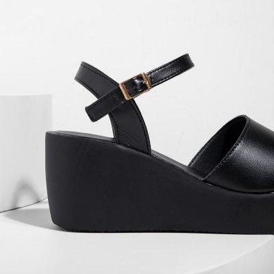 New Women's Peep Toe Wedges Adjustable Buckle Plus Size Sandals