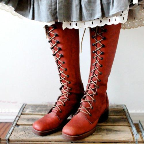 Women Round Toe Chunky Heel Lace-Up Pu Spring Casual Knee Boots