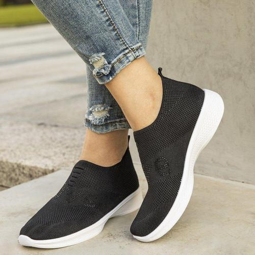 Women Sports All Season Flat Heel Elastic Cloth Sneakers