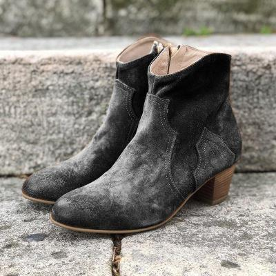 Woman Solid Suede Split Joint Chunky Heel Ankle Boots