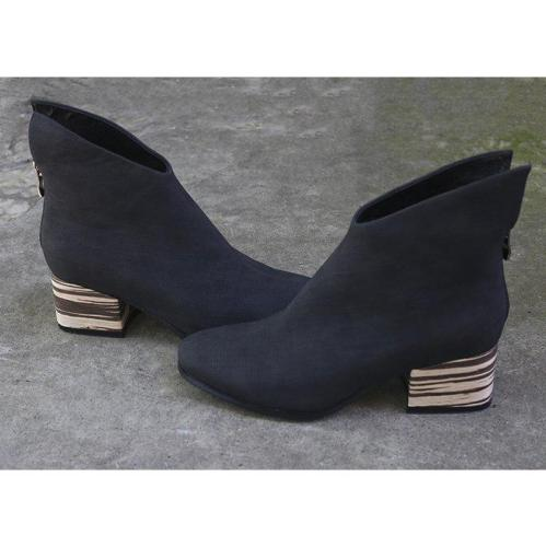 Women Zipper Chunky Heel Winter Ankle Boots