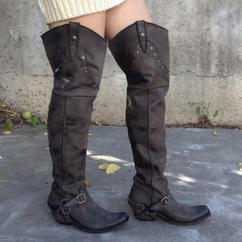 Over The Knee Buckle Rivet Cowboy Boots Artificial Leather Womens Boots