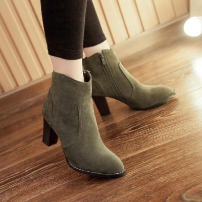 Zip Chunky Heels Short Boots Plus Size Women Shoes 7363
