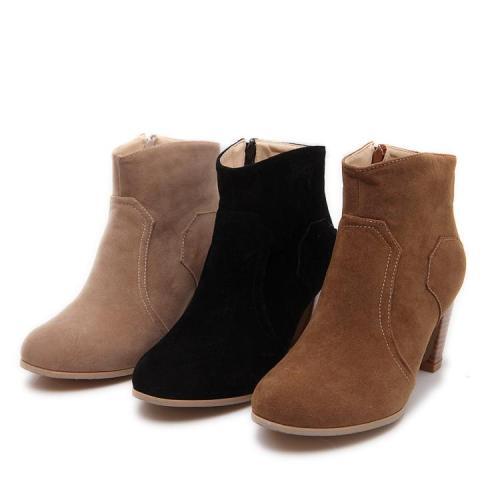 Suede High Heels Short Boots Plus Size Women Shoes 3553
