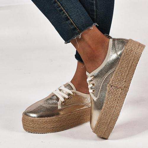 Plus Size Espadrille Comfy Pu Round Toe Flat Loafers