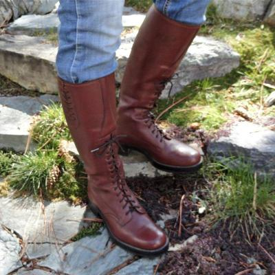 Women Riding Boots Round Toe Casual Pu Fall Lace-Up Chunky Heel Shoes
