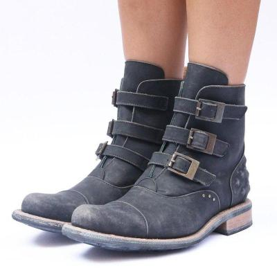 Vintage Women Chunky Heel Buckle Strap Ankle Boots