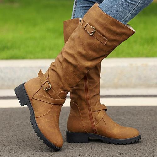 Mid Calf Low Heel Zip On Combat Ladies Buckles Boots Shoes