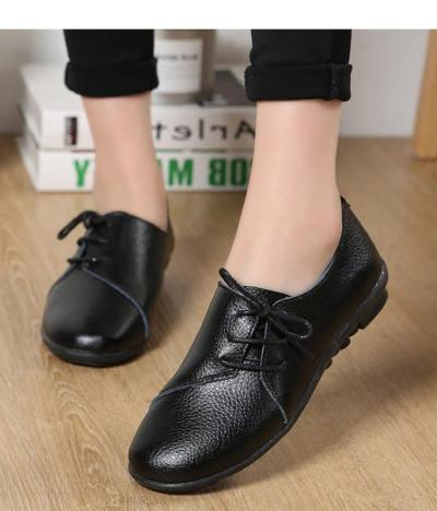 2019 New Genuine Leather Flat Shoes Women Soft Bottom Oxford Pointe Shoes White Sapato Feminino Loafers Casual Women Flats