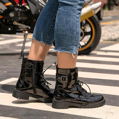 Black Flat Women Round Toe Flat Heel Boots