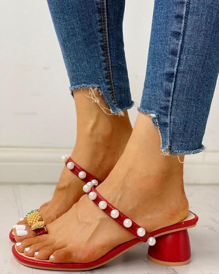 Beaded Pineapple Detail Chunky Heeled Sandals