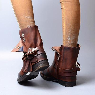 Plus Size Vintage Leather Chunky Heel Ankle Booties