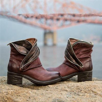 Women Block Heel Faux Leather Casual Boots