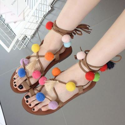 Women Pompom Summer Daily Lace Up Flat Heel Sandals