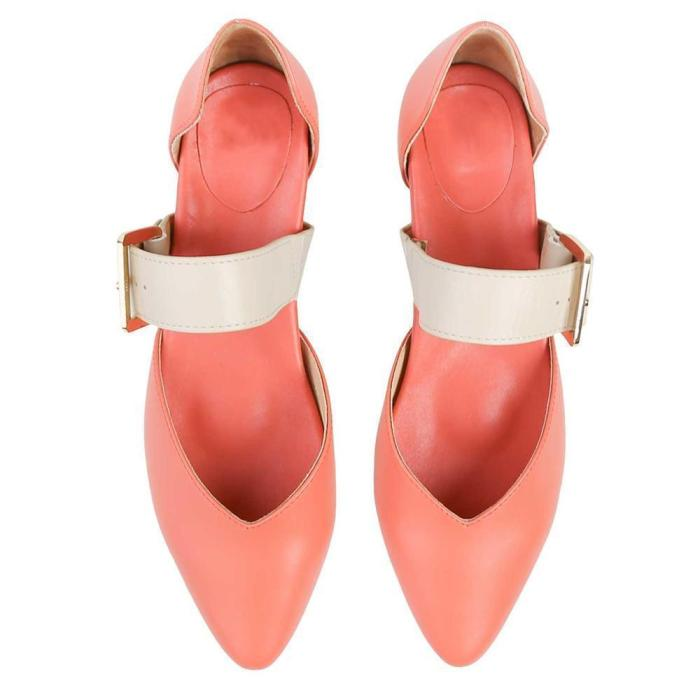 Women's Simple Buckle Casual High Heels Flat Shoes Mules