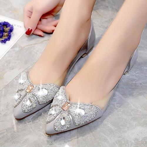 New Spring Ladies Bling Crystal Transparent Pointed Toe Flats Women Fashion Slip On Platform Shoes Female Elegant Footwear