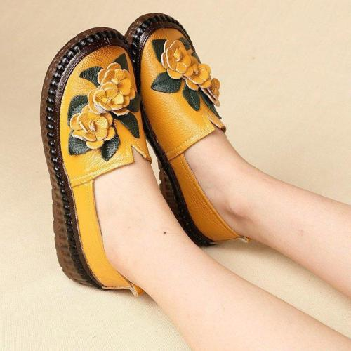 Women Casual Soft Flowers Flat Shoes Folkways Comfortable Flats
