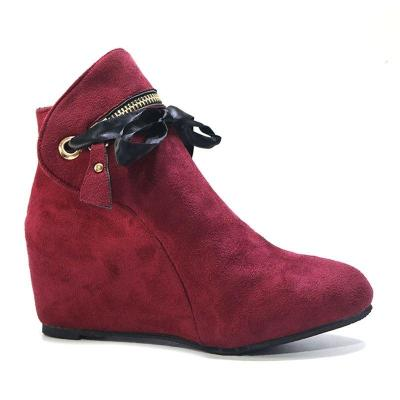Plus Size Comfy Suede Increased Height Round Toe Ankle Boots
