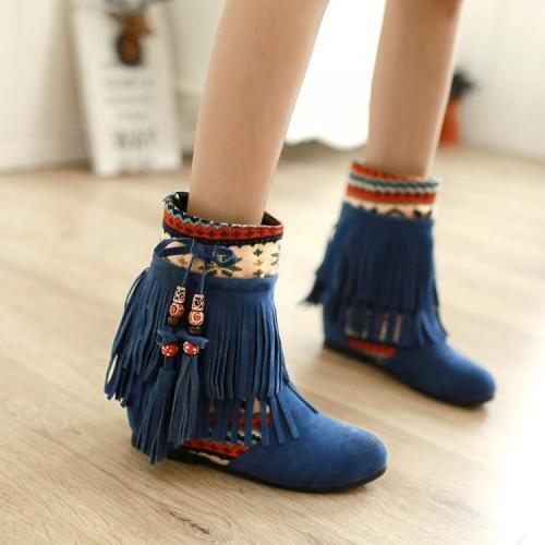 Women Tassel Short Boots Plus Size Autumn and Winter Shoes 8252