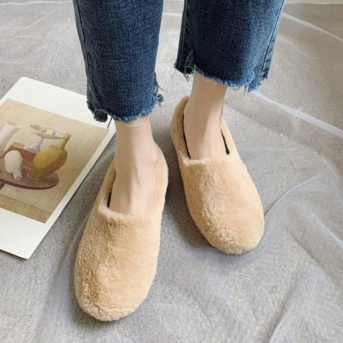 Womens Low Heel Slip-On Warm Fur Winter Boots