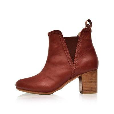 Woman Stitching Split Joint Chunky Heel Round Toe Ankle Boots