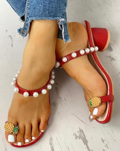 Beaded Pineapple Detail Chunky Heeled Sandals