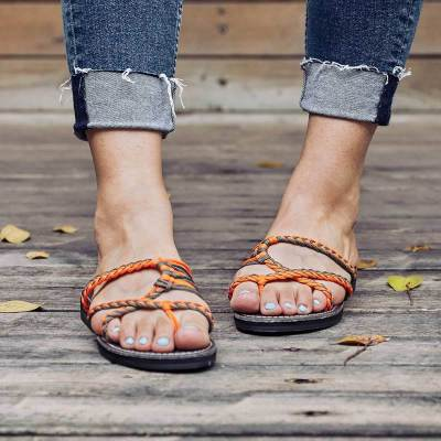 Plus Size High Quality  Knitted Fabric Flip Flops Cute Beach Slippers