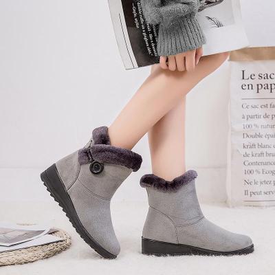 Simple Warm  Slip-on Wedge Heel Snow Boots