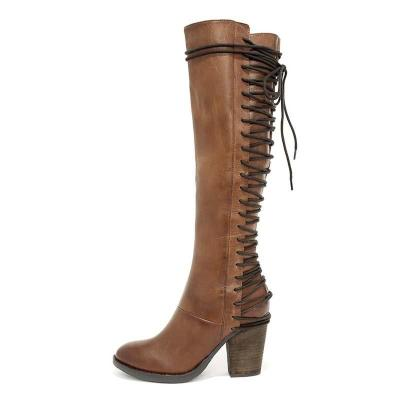 Brown Vintage European Style Casual PU Lace-up Winter Boots