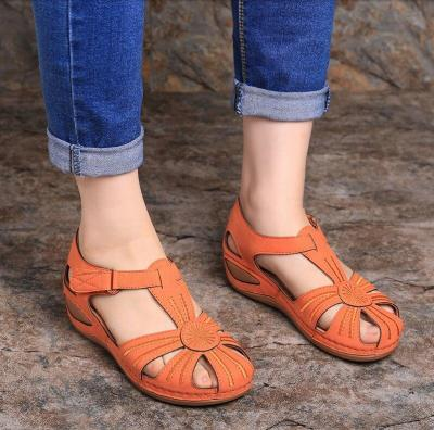 Platform Sandals Women  Summer Hollow Out Summer Handmade Platform Ladies Shoes Women Retro Style Soft Bottom Mother Shoes