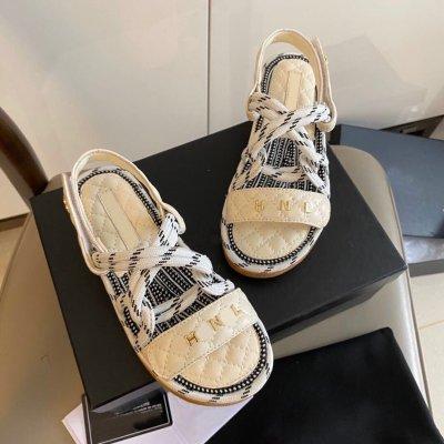 Summer Trendy Shoes 2020 Velcro Hemp Rope Rome Sandals Platform A- line Cross Flat Sandals for Women