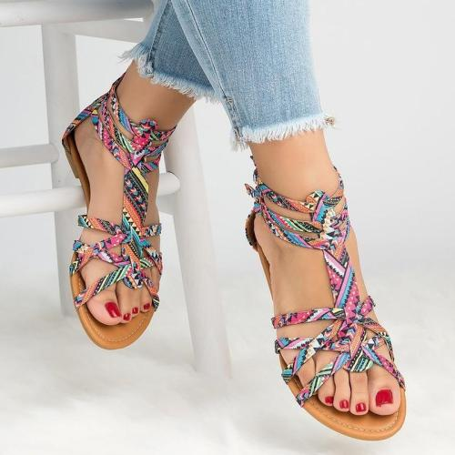 Big Size 42-43 Flat Sandal Women Summer Zipper Canvas Sandals Female Light Weight Casual Shoes For Women Fashion