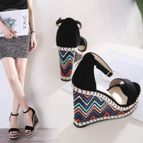 Fashion Womens Shoes 2020 Roman Sandals High Heels Clogs Wedge All-Match Suit Female Beige Espadrilles Platform Muffins shoe
