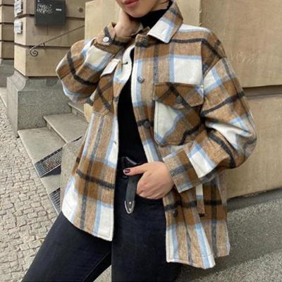 2020 Autumn Winter Plaid Oversize Jackets Loose Causal Checker Streetwear Coat