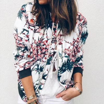 Outerwear & Coats Jackets Womens Ladies Retro Floral Zipper Up Bomber Outwear Casual coats and jackets women 2020AUG10