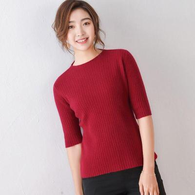 wool shirt women black knitted pullover hollow female shirt half sleeves spring fashion tops round neck short slim pullover