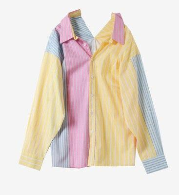Rainbow Stripe Women Shirts Patchwork Drop Shoulder Long Sleeve Turn Down Collar Fashion Loose Casual 2020 Fashion New Clothings