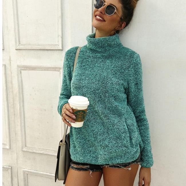 New Thin Korean Fashion Ladies Full Sleeve Women Knitting Turtleneck Sweater Solid Pullover And Jumper Loose Sweater Hot Sale