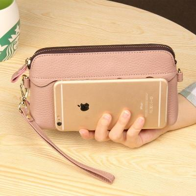 Genuine Leather Women Wallet Female Long Clutch Lady Wallet Multi-functional Money Bag Magic Zipper Coin Purse Mobile Phone Bag
