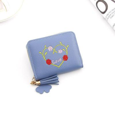 Ladies Mini Wallet Casual Personality Zipper Tassel Embroidered Coin Purse Wallet Card Holder Ladies Female Heart-shaped Wallet