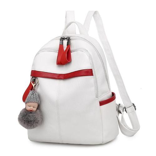PU Leather Women's Backpack Cute Velvet Ornaments Travel Bag For Women Large Capacity School Backpack For Girls
