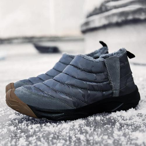 UPUPER Men Snow Boots Outdoor Anti-Skid Winter Boots Men Shoes Warm Plush Slip-on Shoes Camouflage Waterproof Men Ankle Boots