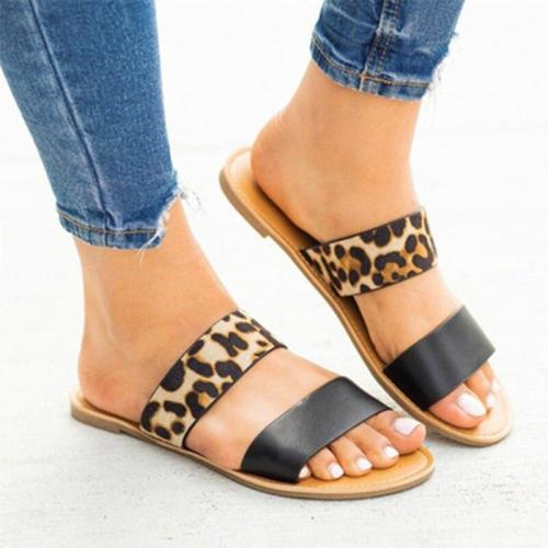 2020 Women Slippers Home Summer Ladies Leopard Female Mixed Colors Flats Women's Indoor Footwear Woman Shoes Plus Size